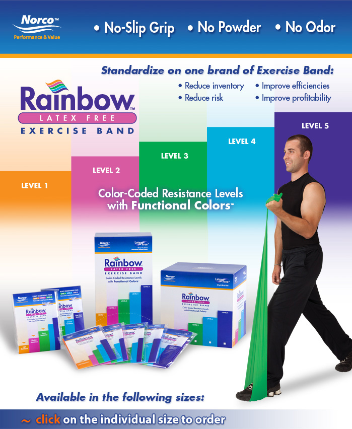 Rainbow™ Exercise Band. Latex Free, Powder Free, Odor Free.
