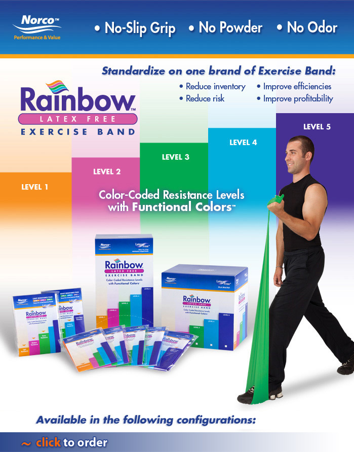 Rainbow™ Exercise Band. Latex Free, Powder Free, Odor Free.